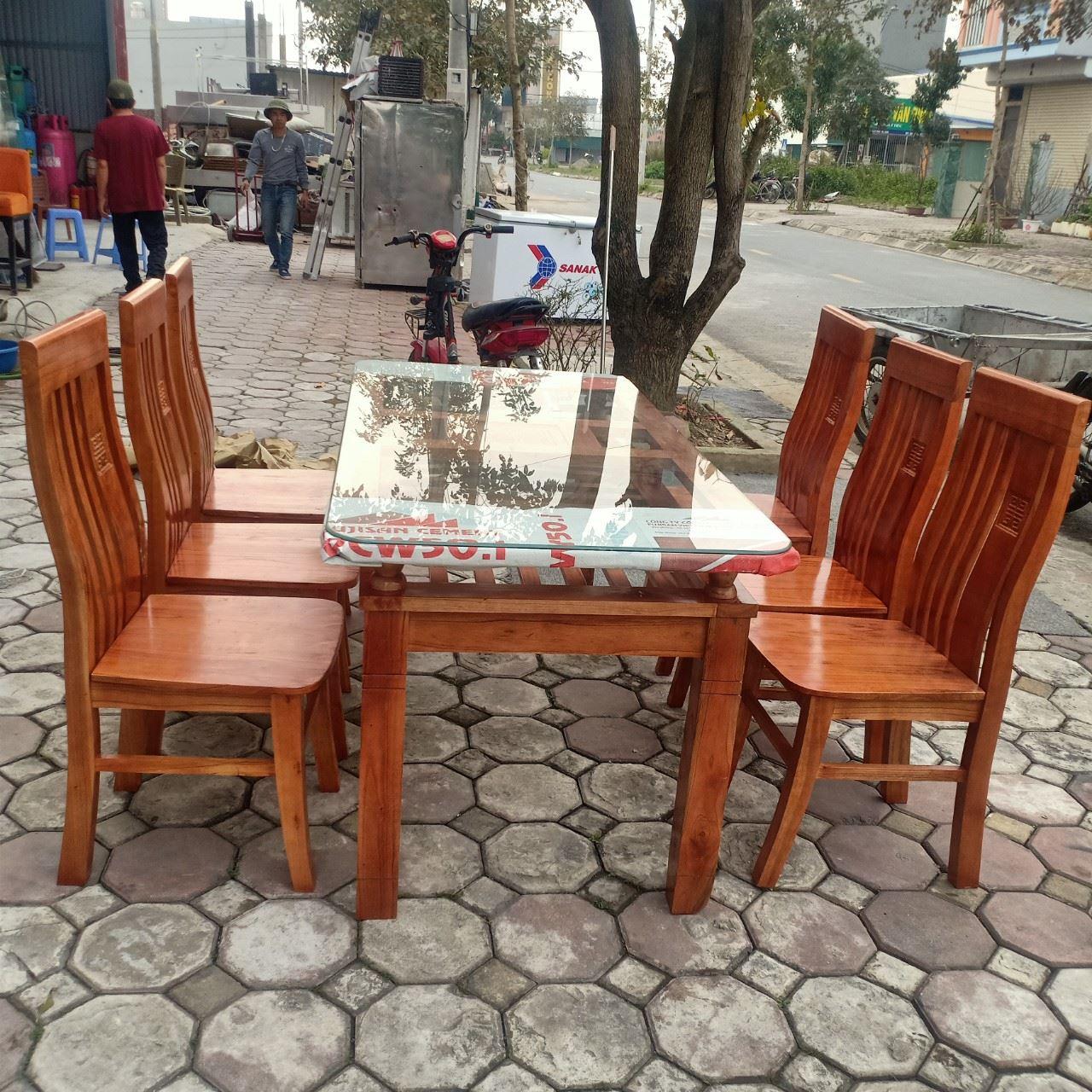 Bộ bàn ăn gỗ xoan 6 ghế mới