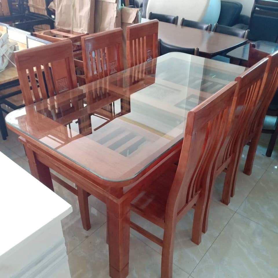 Bộ bàn ăn 6 ghế bàn mặt kính