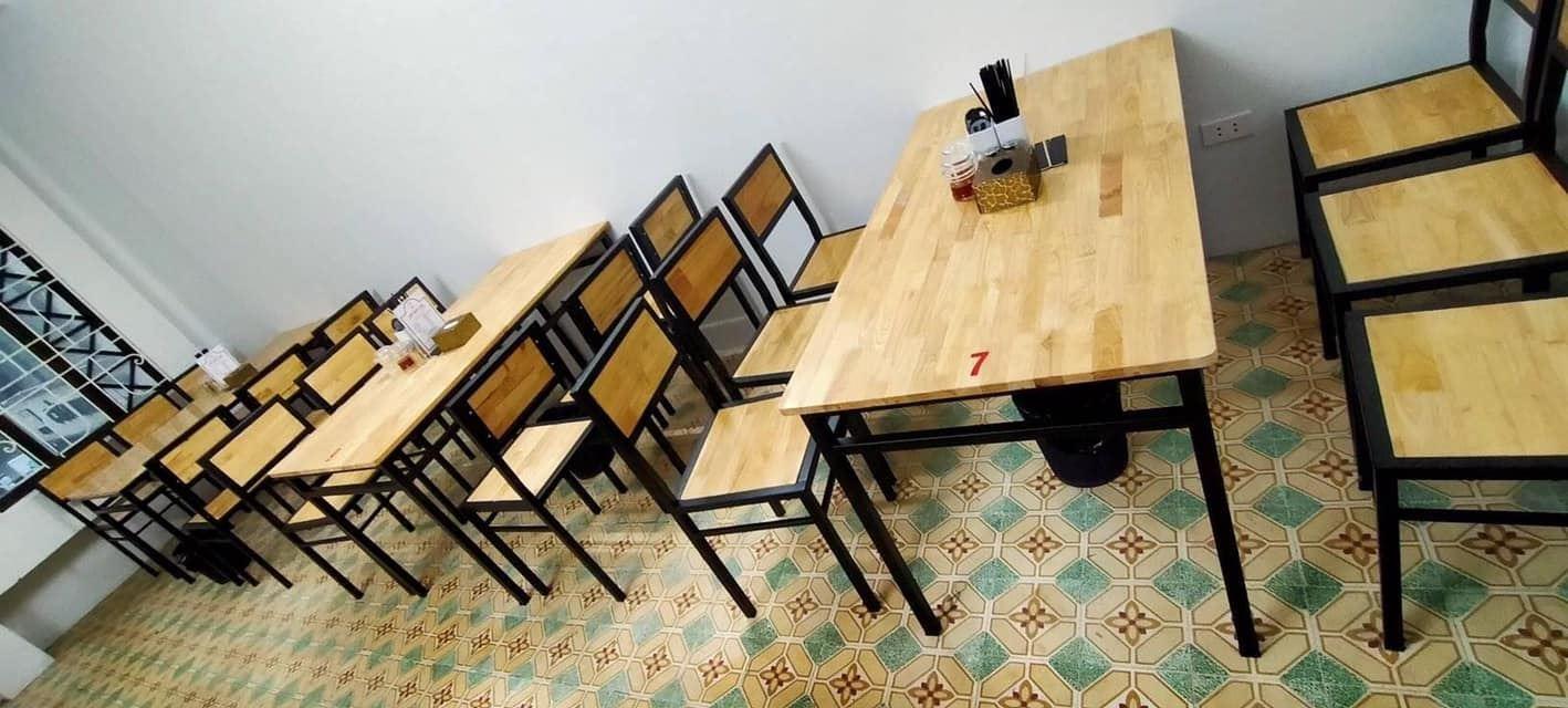 Bộ bàn 6 ghế chân sắt mặt gỗ