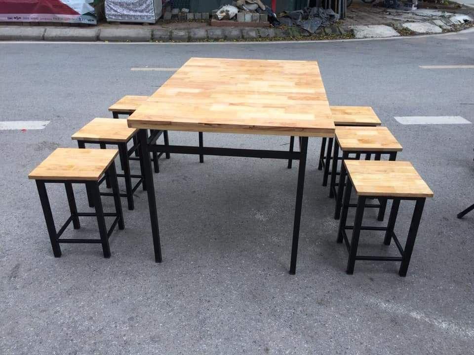 Bộ bàn ăn 6 ghế khung sắt mặt gỗ loại 2
